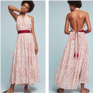 Anthropologie Samarkand Maxi Wrap Halter Dress